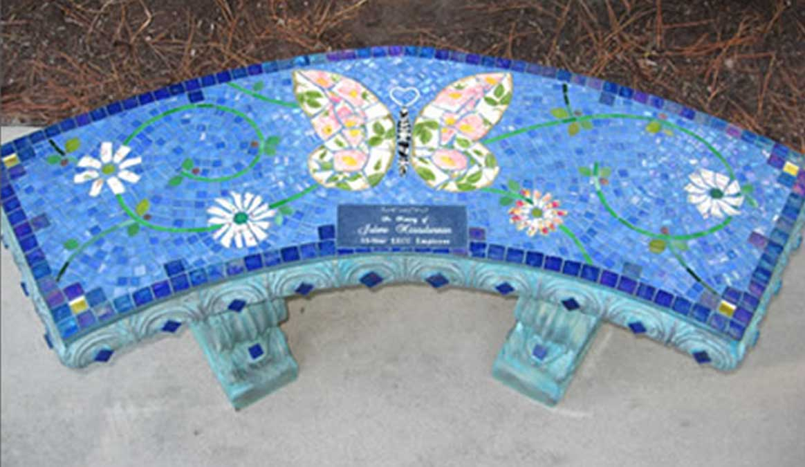 Mosaic Memorial Garden Bench of PInk Floral Butterfly by Water's End Studio Artist Linda Solby