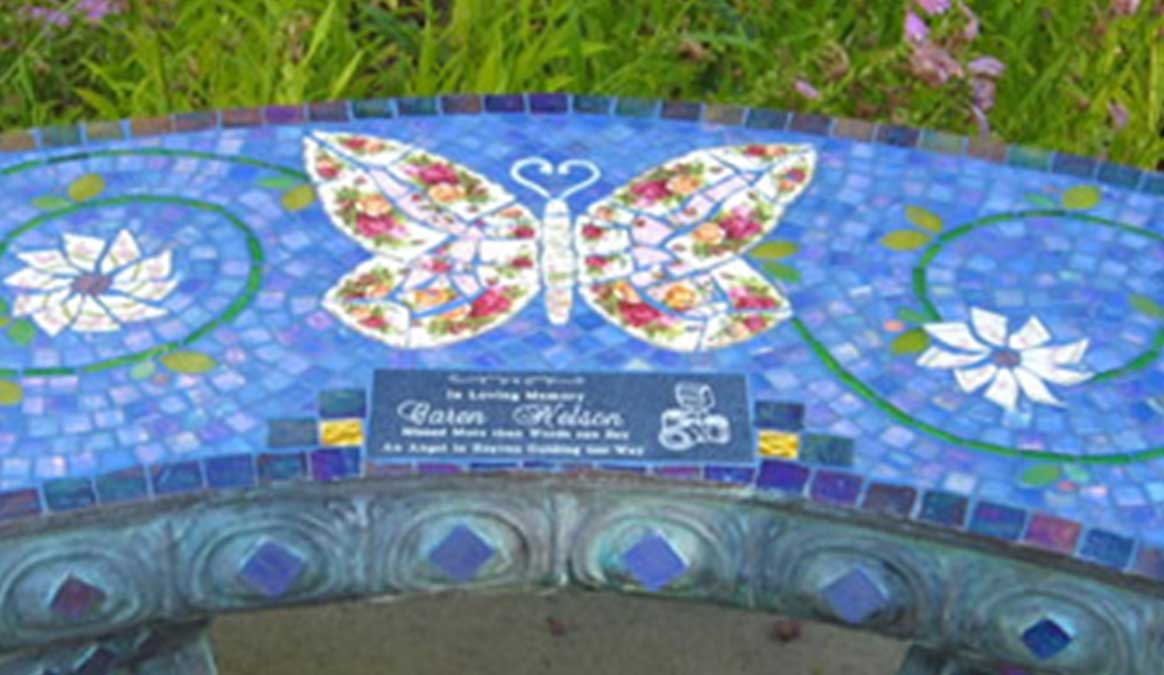 Mosaic Memorial Garden Bench of Red Rose Butterfly Closeup by Water's End Studio Artist Linda Solby