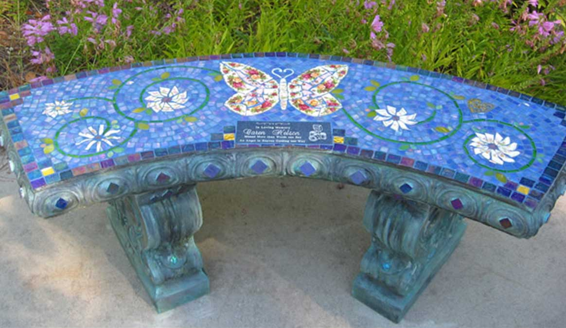 Mosaic Memorial Garden Bench of Red Rose Butterfly by Water's End Studio Artist Linda Solby