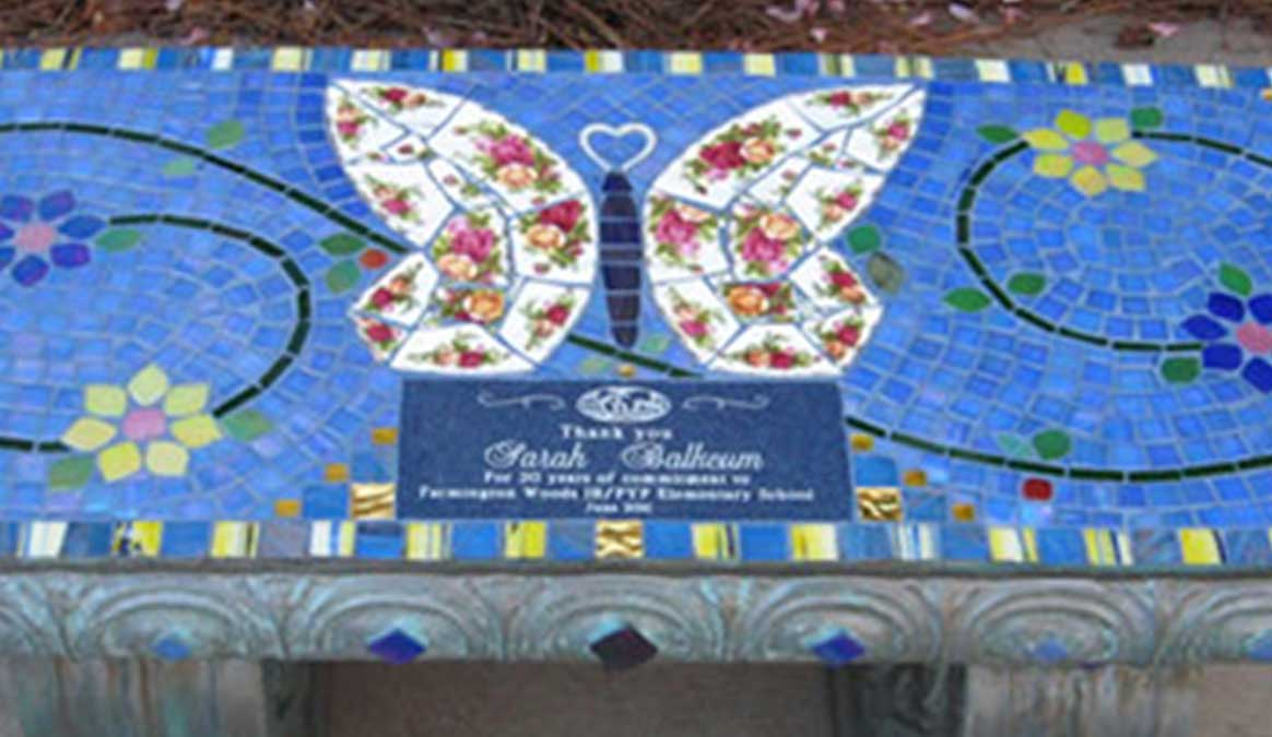 Mosaic Memorial Garden Bench of Sarah's Butterfly Bench Closeup by Water's End Studio Artist Linda Solby