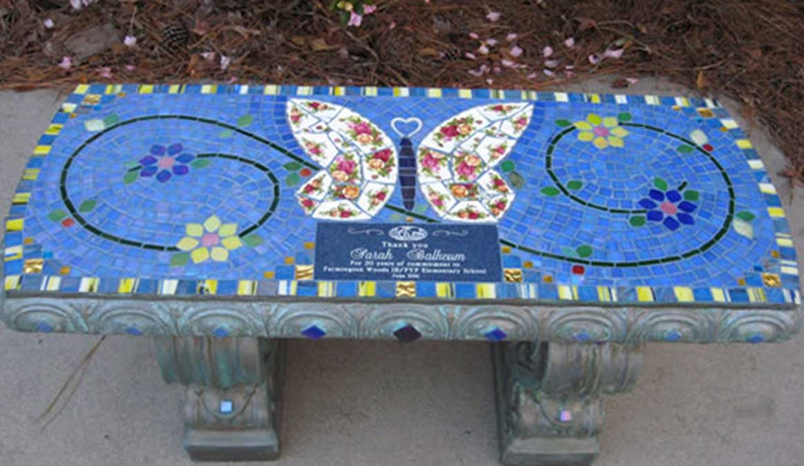 Mosaic Memorial Garden Bench of Sarah's Butterfly Bench by Water's End Studio Artist Linda Solby