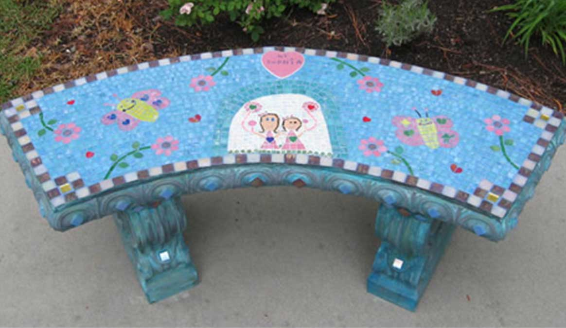 Mosaic Memorial Garden Bench of Sophia's Art by Water's End Studio Artist Linda Solby