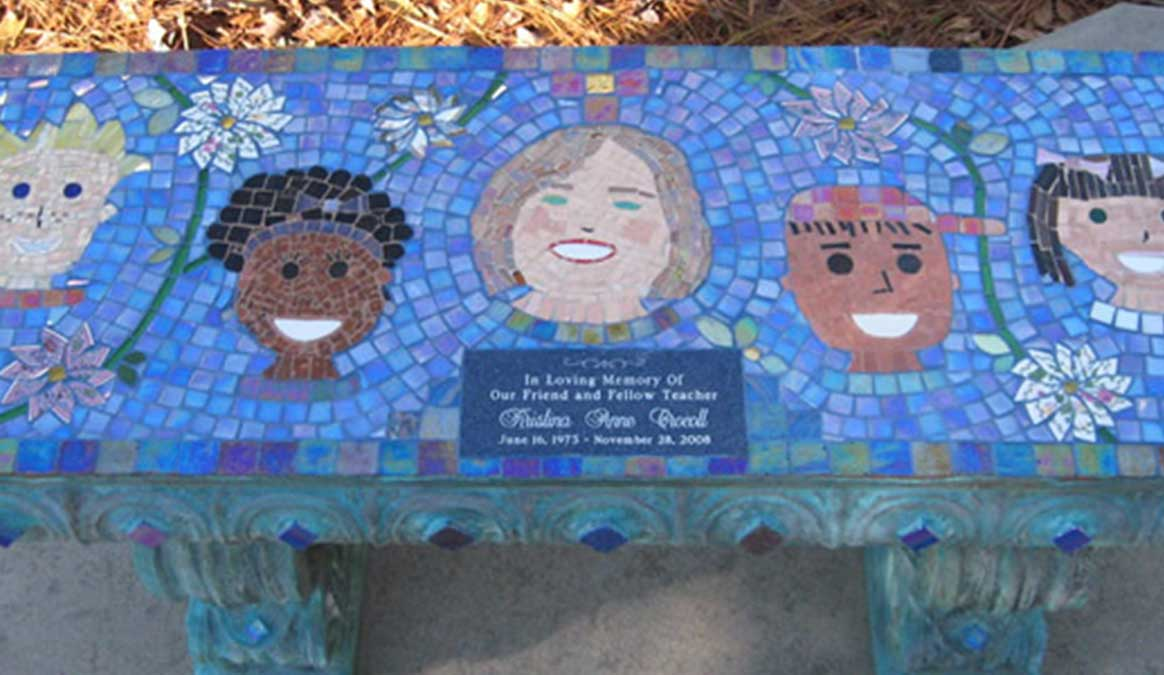 Mosaic Memorial Garden Bench of Special Teacher and Her Prize Students Closeup by Water's End Studio Artist Linda Solby