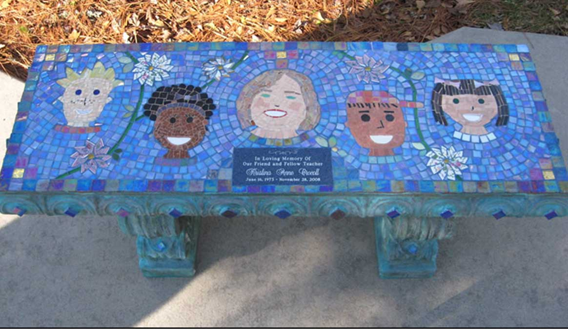 Mosaic Memorial Garden Bench of Special Teacher and Her Prize Students by Water's End Studio Artist Linda Solby