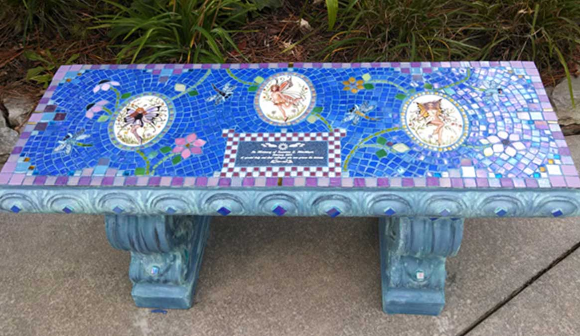 Mosaic Memorial Garden Bench of Suzanne's Garden Fairies and Dragonflies by Water's End Studio Artist Linda Solby