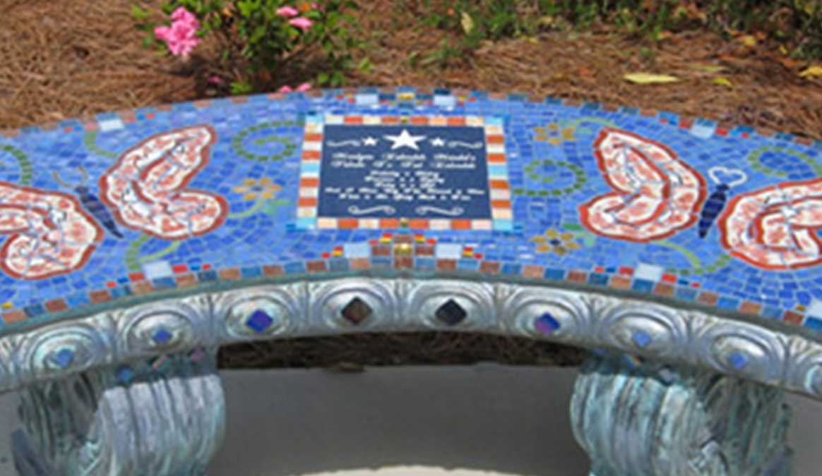 Mosaic Memorial Garden Bench of Ted's Butterflies Closeup by Water's End Studio Artist Linda Solby