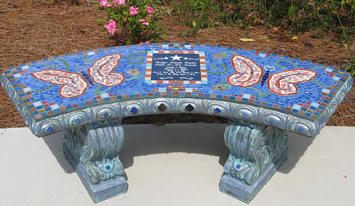 Mosaic Memorial Garden Bench of Ted's Butterflies by Water's End Studio Artist Linda Solby
