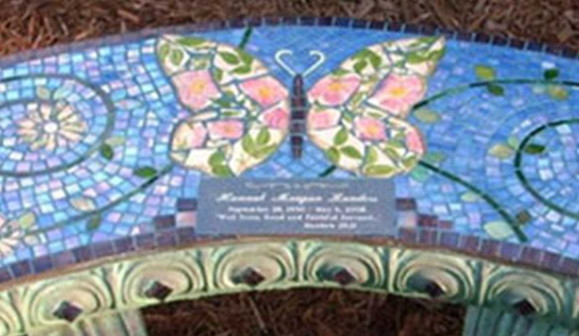 Mosaic Memorial Garden Bench of Tricia's Butterfly Closeup by Water's End Studio Artist Linda Solby