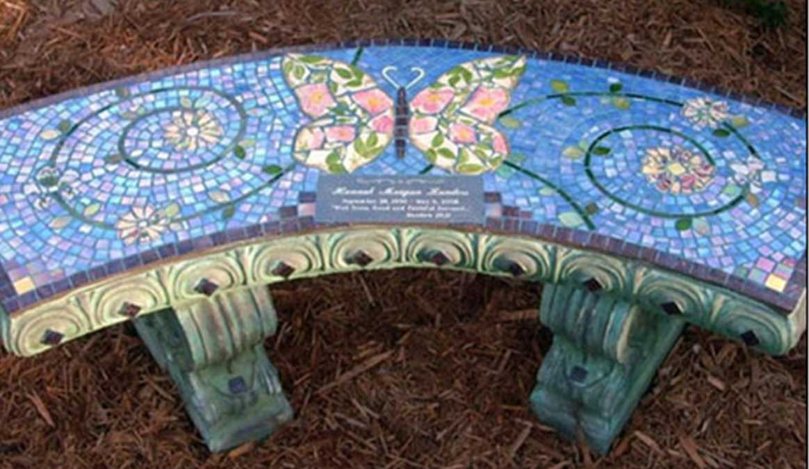 Mosaic Memorial Garden Bench of Tricia's Butterfly by Water's End Studio Artist Linda Solby