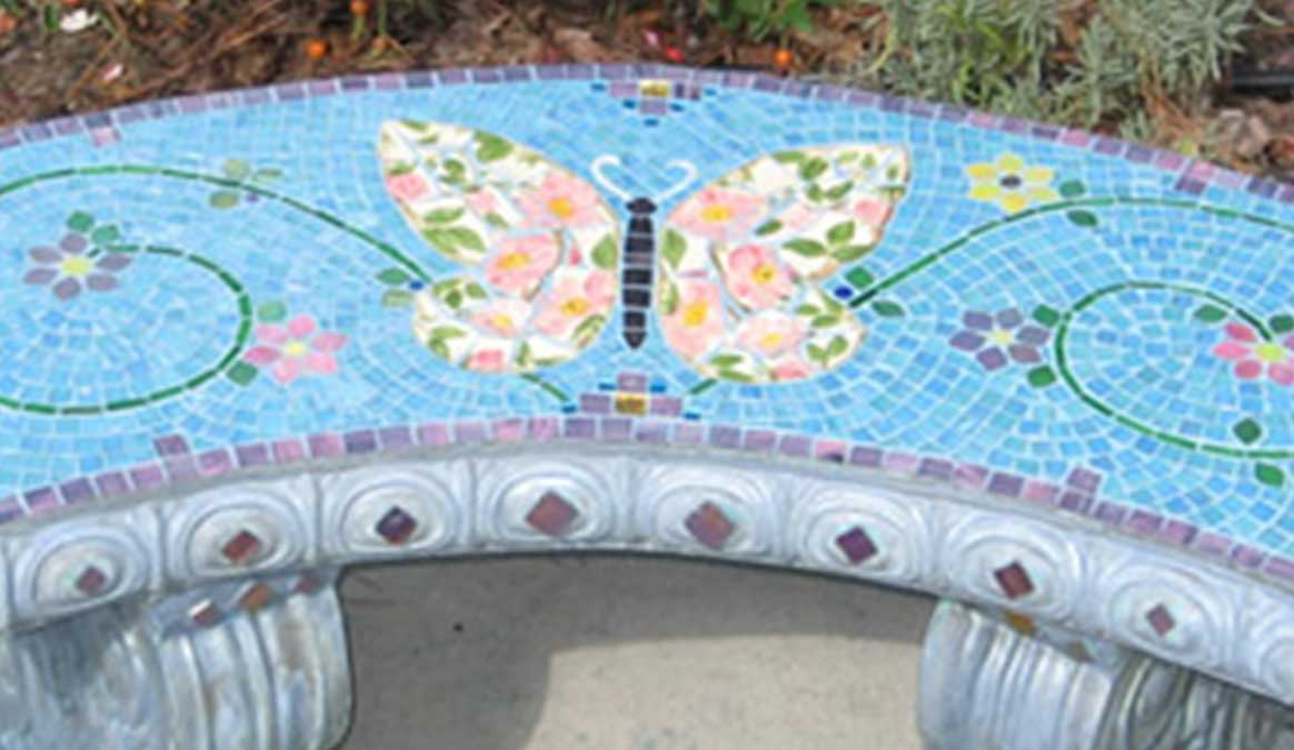 Mosaic Memorial Garden Bench of Wilma's Butterfly Closeup by Water's End Studio Artist Linda Solby