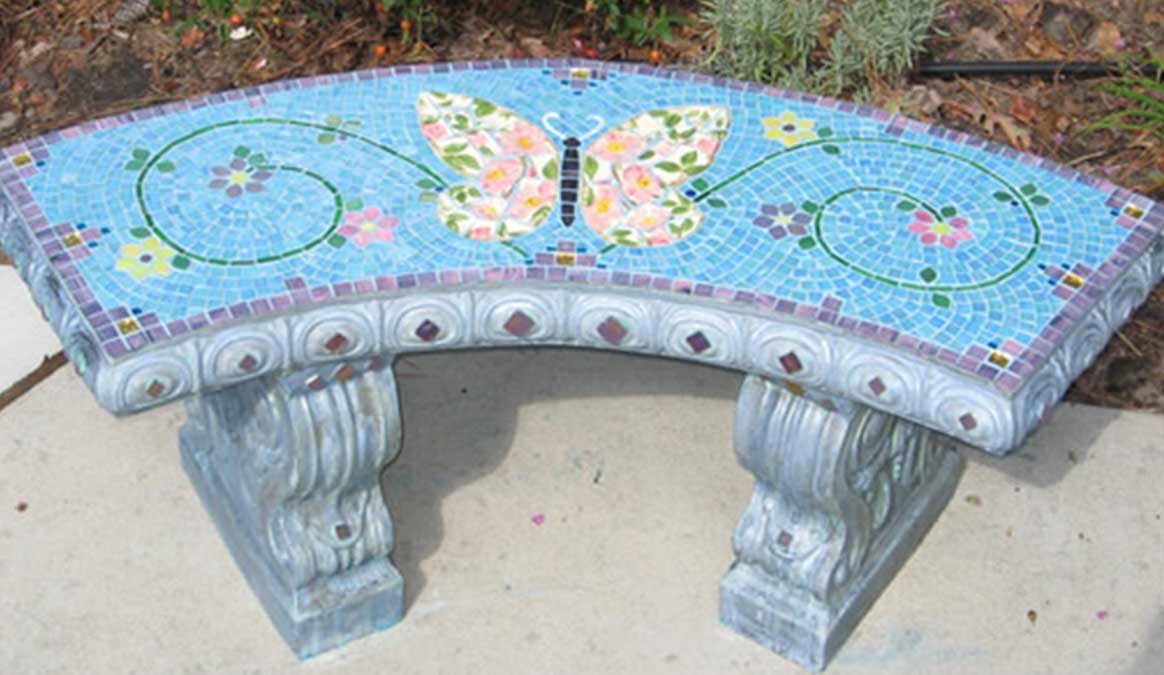 Mosaic Memorial Garden Bench of Wilma's Butterfly by Water's End Studio Artist Linda Solby