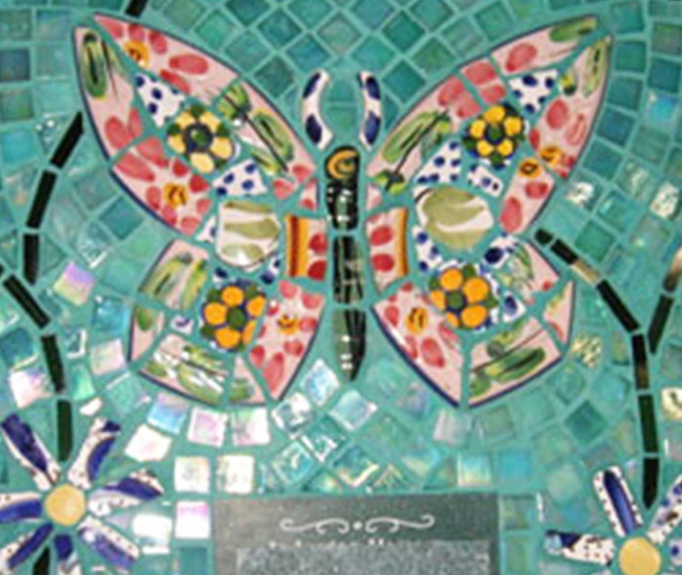 Mosaic Memorial Picture Plaque of a Colorful Butterfly Closeup by Water's End Studio Artist Linda Solby