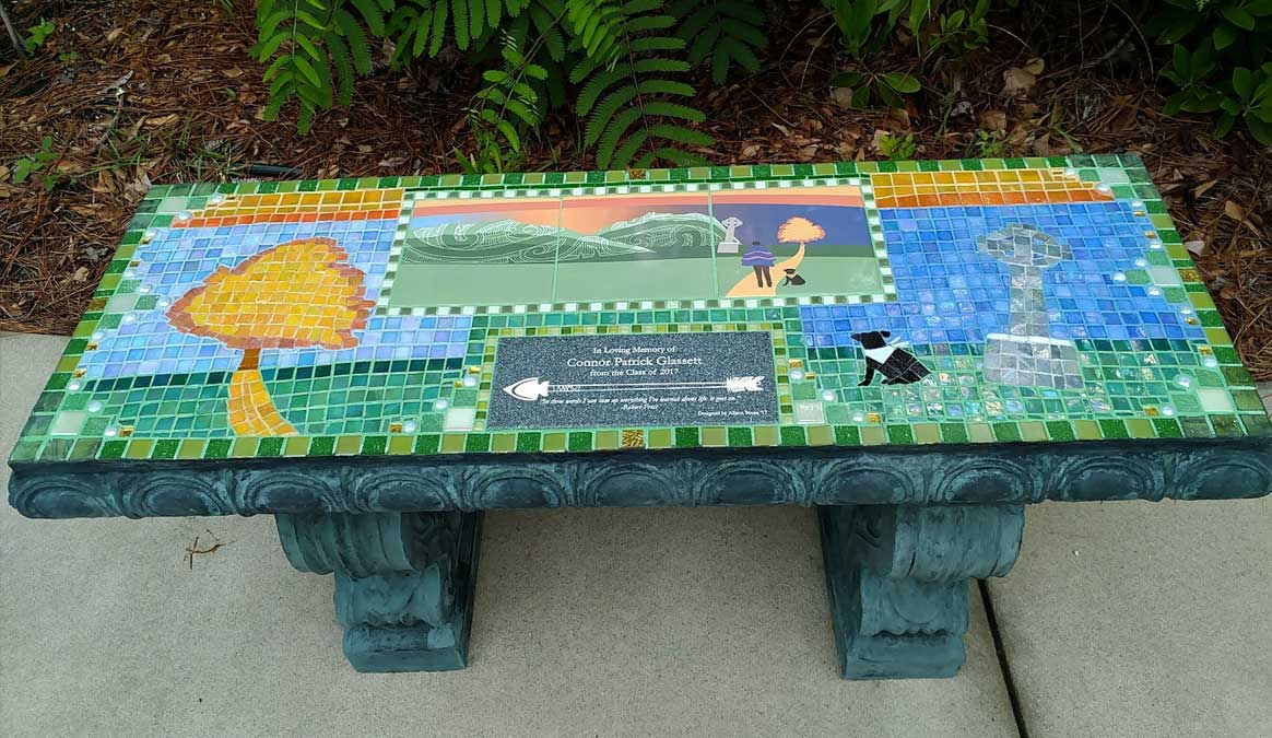 Mosaic Memorial Garden Bench with Specialized Unique Design by Water's End Studio Artist Linda Solby