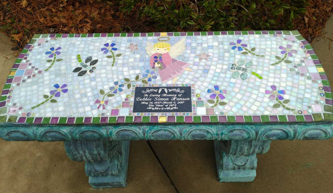 Mosaic Memorial Garden Bench of Debbie's Angel by Water's End Studio Artist Linda Solby