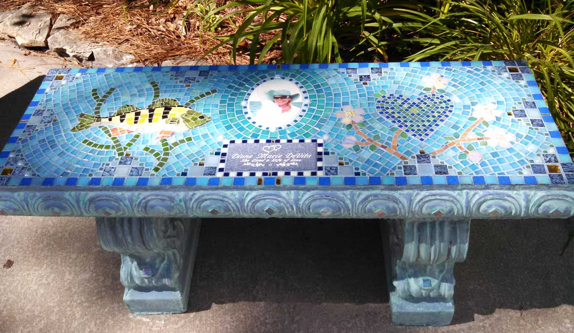 Mosaic Memorial Garden Bench with Portrait Tiles of Diane's Fish and Heart by Water's End Studio Artist Linda Solby