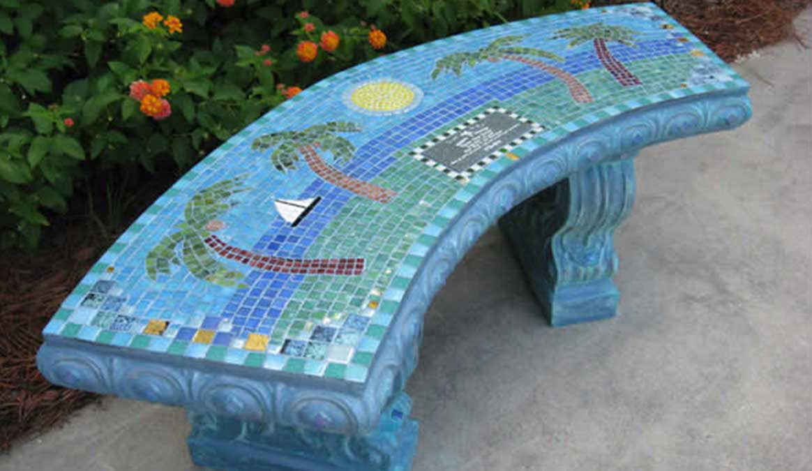 Mosaic Memorial Garden Bench of Dylan's Beach by Water's End Studio Artist Linda Solby