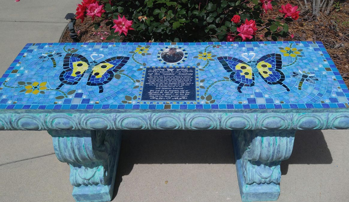Mosaic Memorial Garden Bench with Portrait Tiles of Iris's Blue Butterflies, Sunshine Flowers, and Dragonflies by Water's End Studio Artist Linda Solby