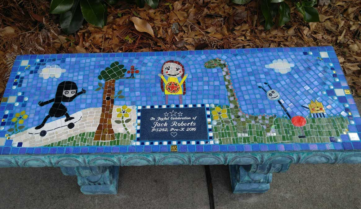 Mosaic Memorial Garden Bench of Jack's Memorial by Water's End Studio Artist Linda Solby