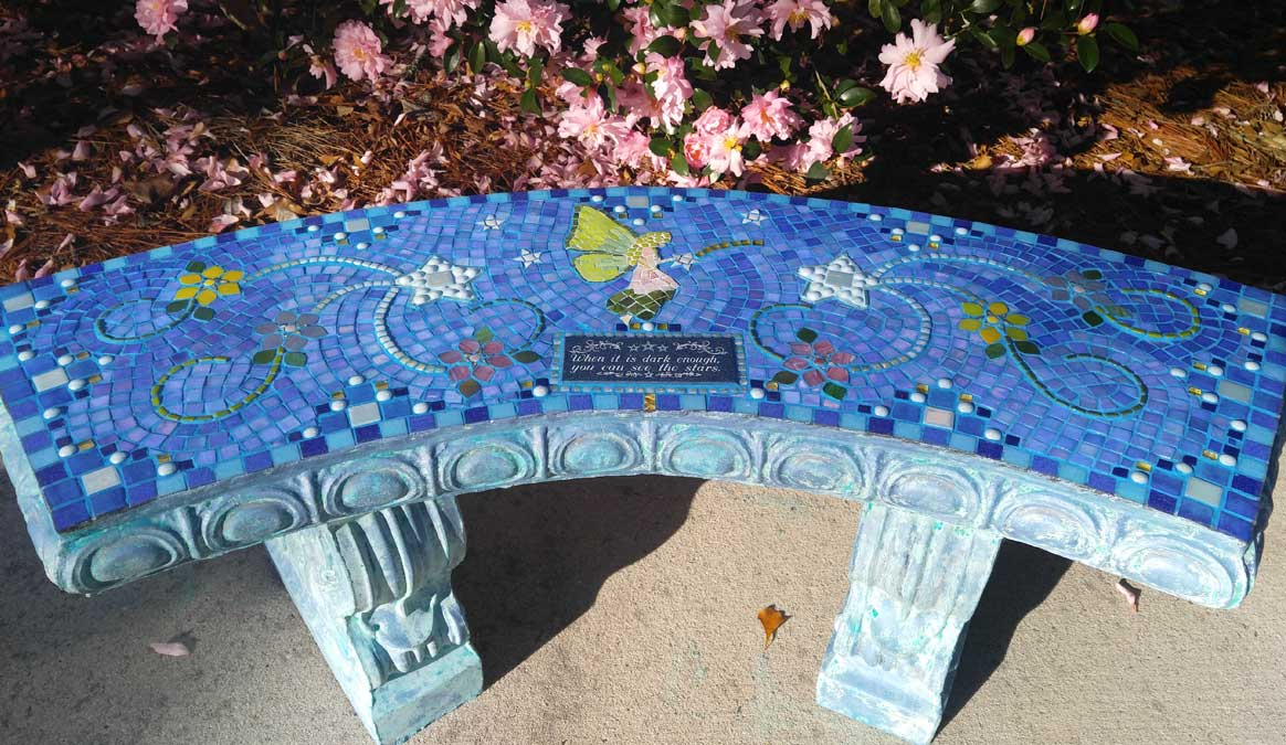Mosaic Memorial Garden Bench of Kelly's Stars and Fairy by Water's End Studio Artist Linda Solby