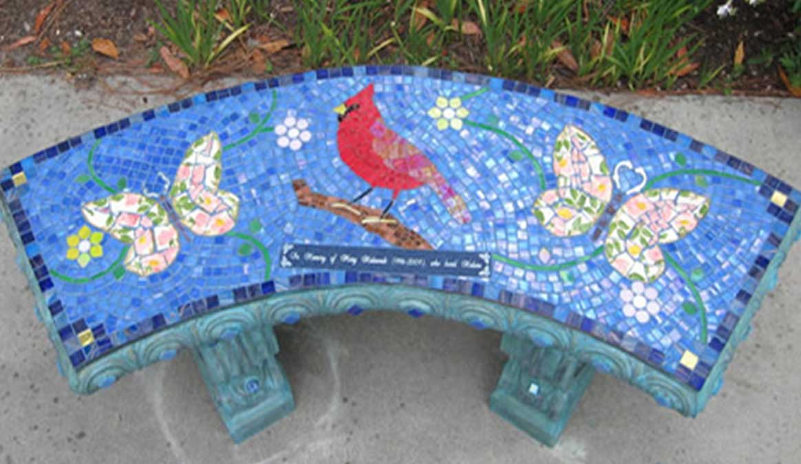 Mosaic Memorial Garden Bench of Mary's Cardinal by Water's End Studio Artist Linda Solby