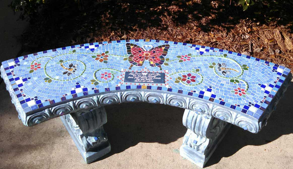 Mosaic Memorial Garden Bench of Micah's Red Butterfly by Water's End Studio Artist Linda Solby