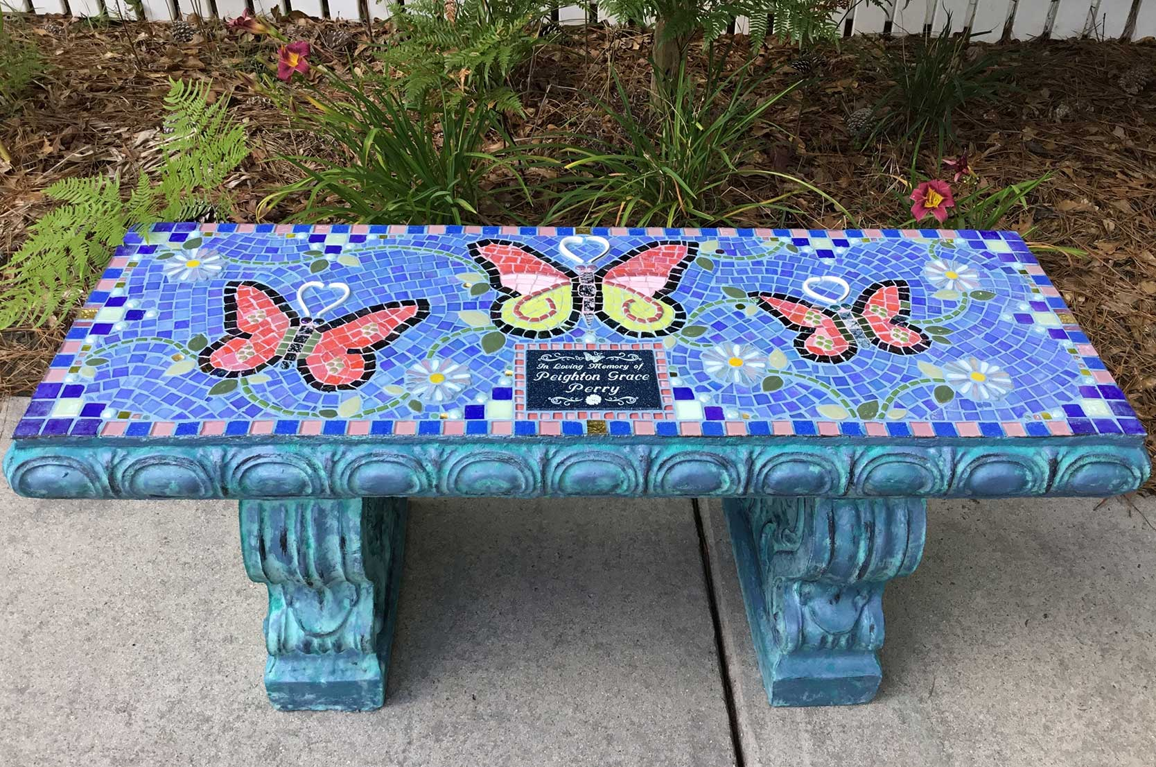Mosaic Memorial Garden Bench 3 Butterflies by Water's End Studio Artist Linda Solby