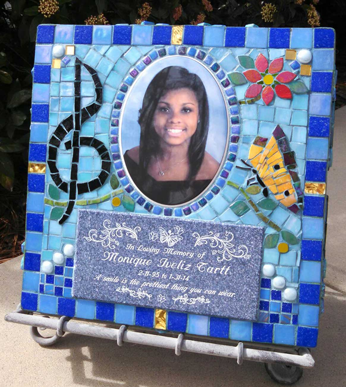 Mosaic Memorial Garden Art Stone by Water's End Studio Artist Linda Solby