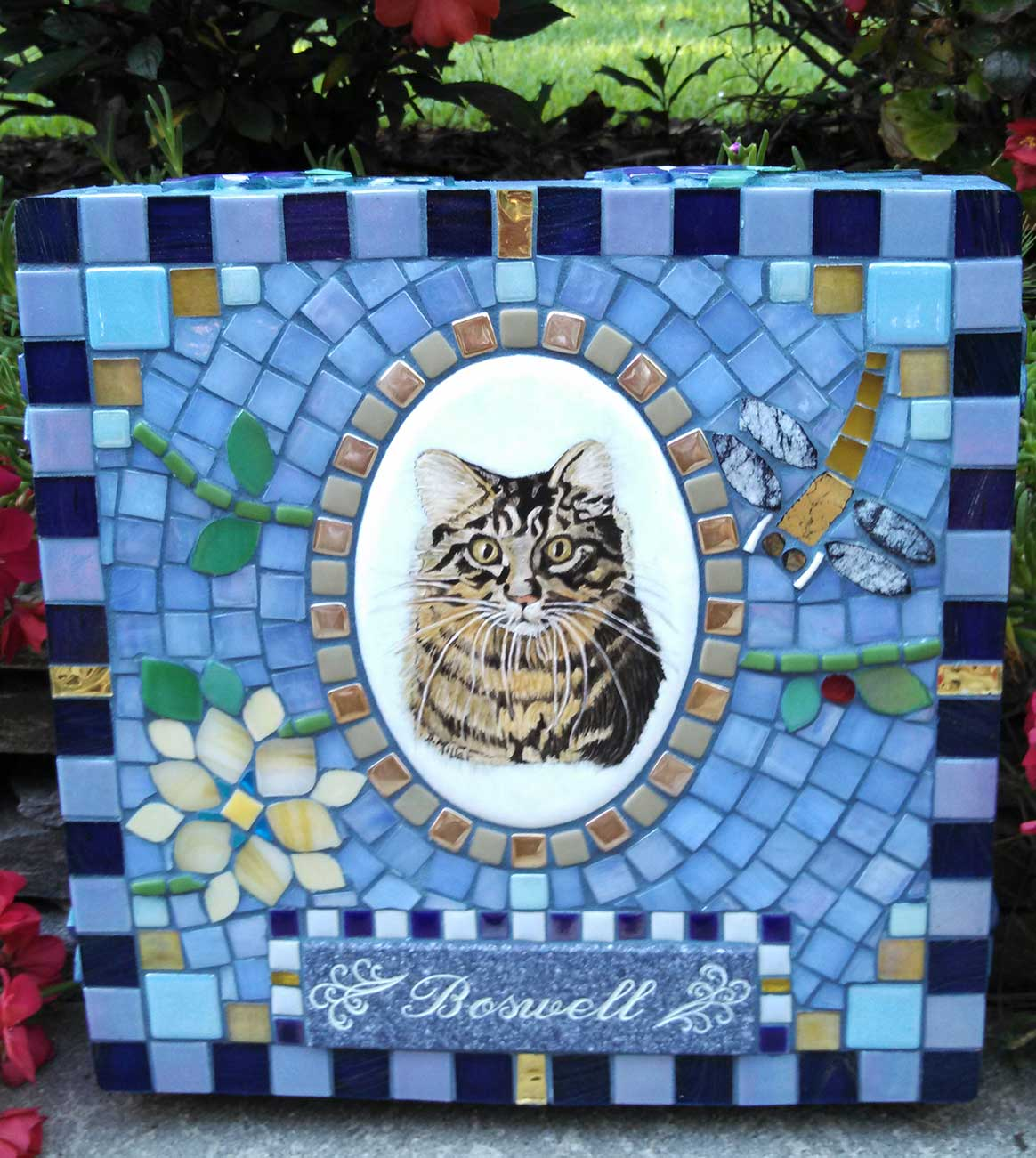 Mosaic Pet Portrait Memorial Stone by Water's End Studio Artist Linda Solby