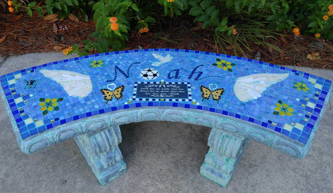 Mosaic Memorial Garden Bench of Noah's Wings by Water's End Studio Artist Linda Solby