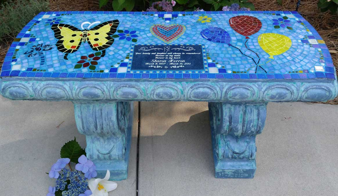 Mosaic Memorial Garden Bench of Sharon's Balloons by Water's End Studio Artist Linda Solby