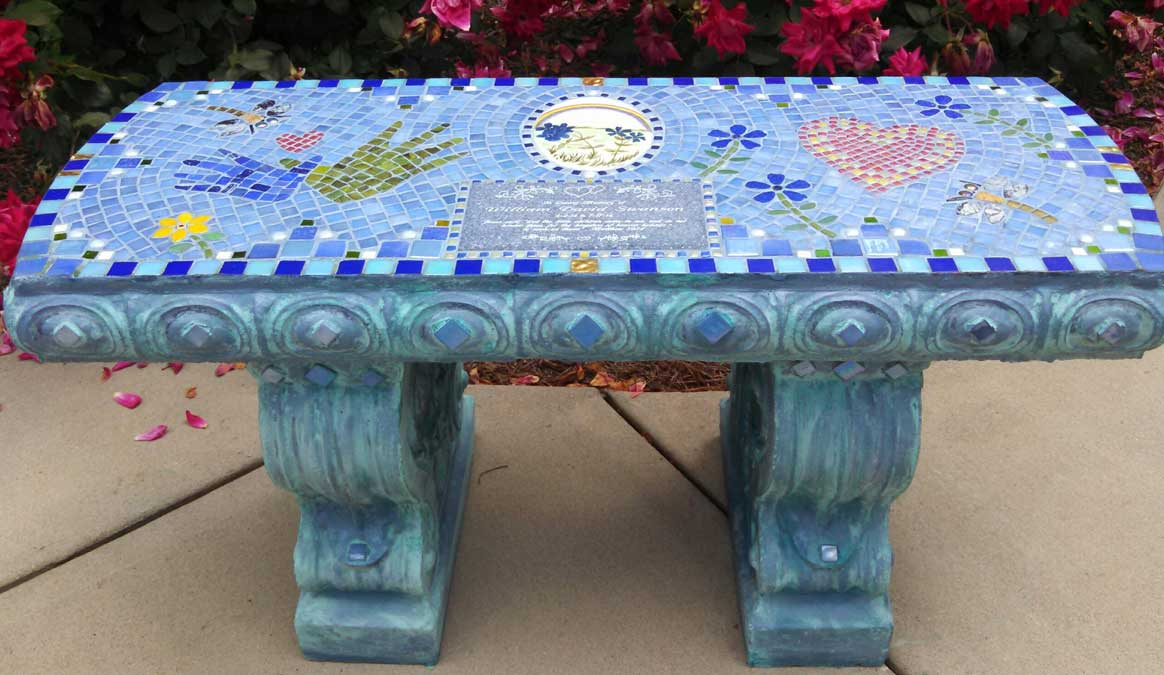 Mosaic Memorial Garden Bench of Sweet William's Design by Water's End Studio Artist Linda Solby