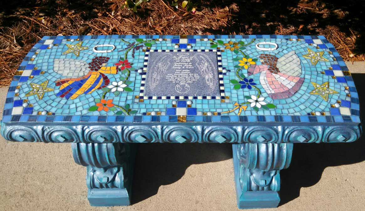 Mosaic Memorial Garden Bench of Two Angels by Water's End Studio Artist Linda Solby