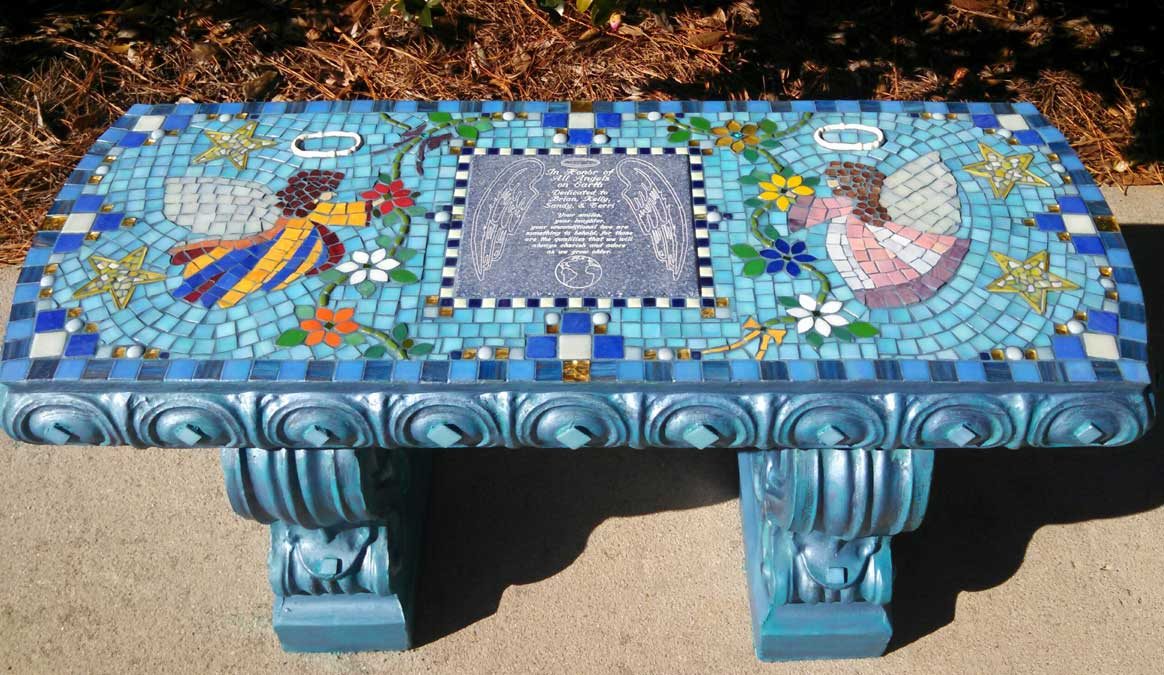 Mosaic Memorial Garden Bench with two colorful angels by Water's End Studio Artist Linda Solby