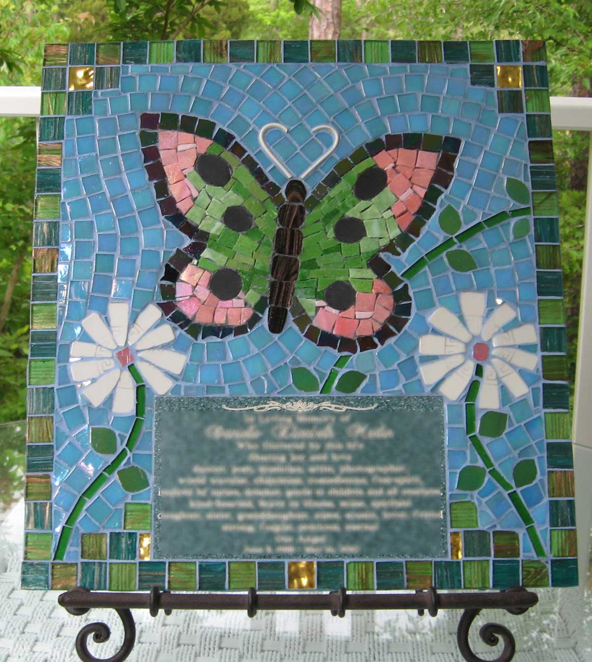 Mosaic Memorial Picture Plaque Butterfly by Water's End Studio Artist Linda Solby