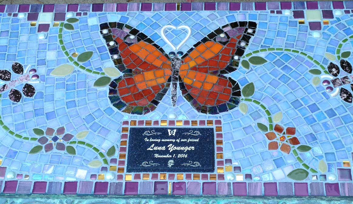 Mosaic Memorial Garden Bench of Luna's Butterfly Closeup by Water's End Studio Artist Linda Solby