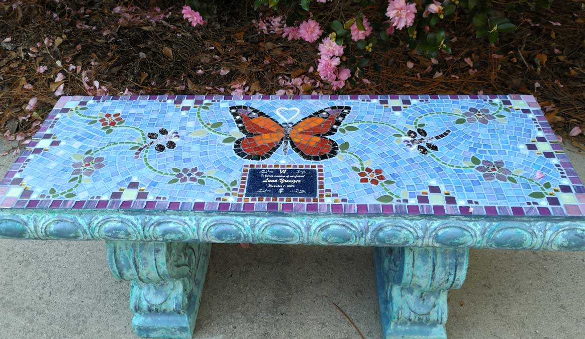 Mosaic Memorial Garden Bench of Luna's Butterfly by Water's End Studio Artist Linda Solby