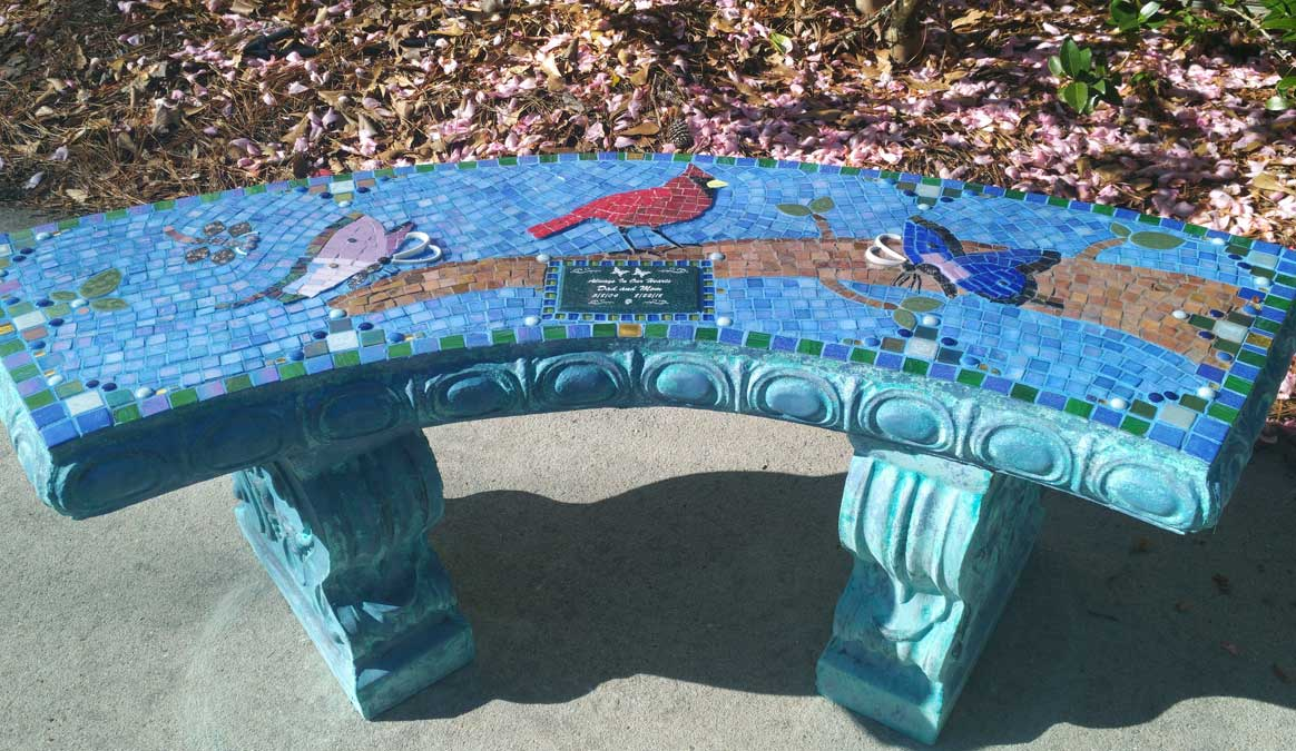 Mosaic Memorial Garden Bench of Mom and Dad's Cardinal by Water's End Studio Artist Linda Solby