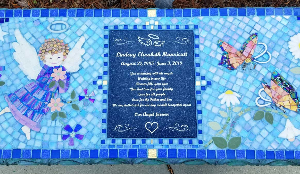 Mosaic Memorial Garden Bench of Lindsays Angel Dancing Among Flowers CloseUp by Water's End Studio Artist Linda Solby