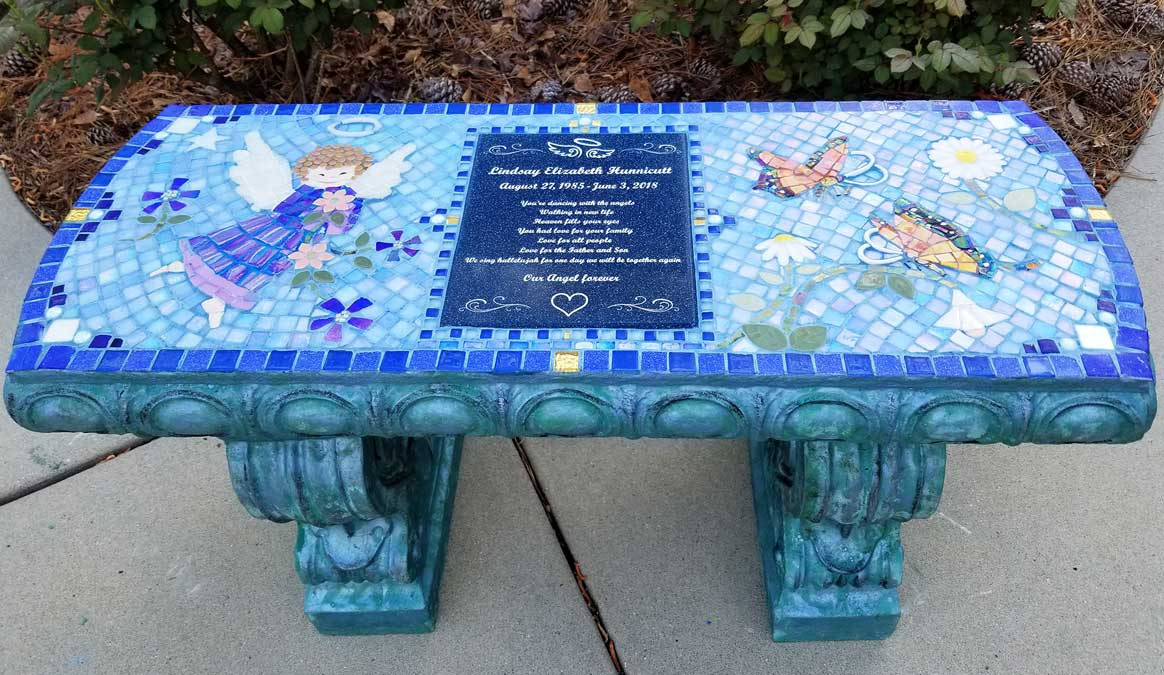 Mosaic Memorial Garden Bench of Lindsays Angel Dancing Among Flowers by Water's End Studio Artist Linda Solby