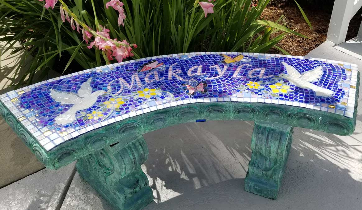 Mosaic Memorial Garden Bench of Makayla's Doves by Water's End Studio Artist Linda Solby
