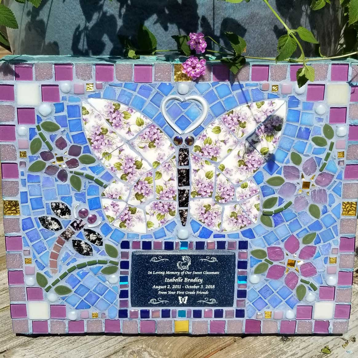 Mosaic Memorial Garden Art Stone of Izabelle's Purple Butterfly by Water's End Studio Artist Linda Solby