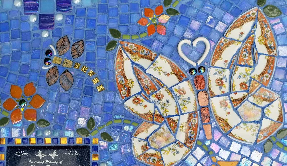 Mosaic Memorial Garden Bench of Claire's Butterflies Closeup by Water's End Studio Artist Linda Solby