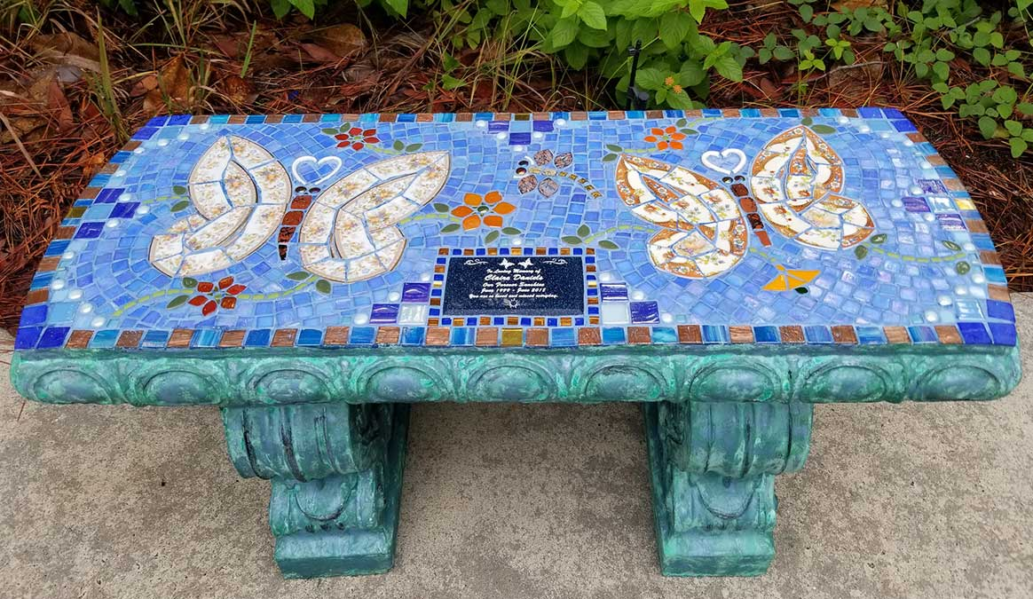 Mosaic Memorial Garden Bench of Claire's Butterflies by Water's End Studio Artist Linda Solby