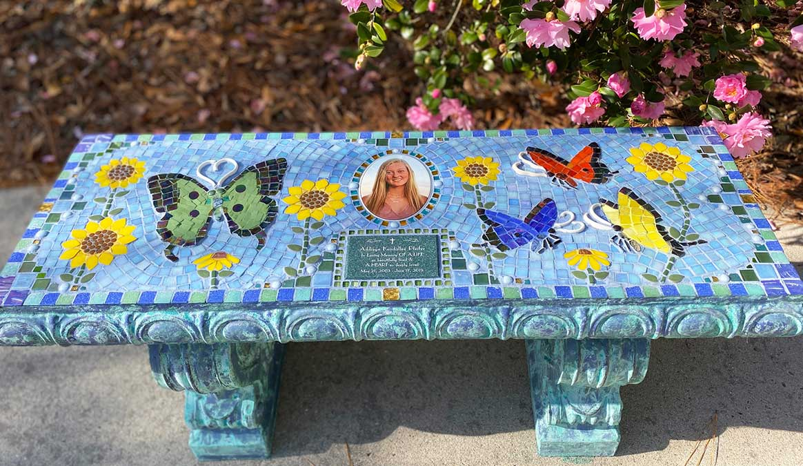 Mosaic Memorial Garden Bench of Addisyn's Sunflowers by Water's End Studio Artist Linda Solby