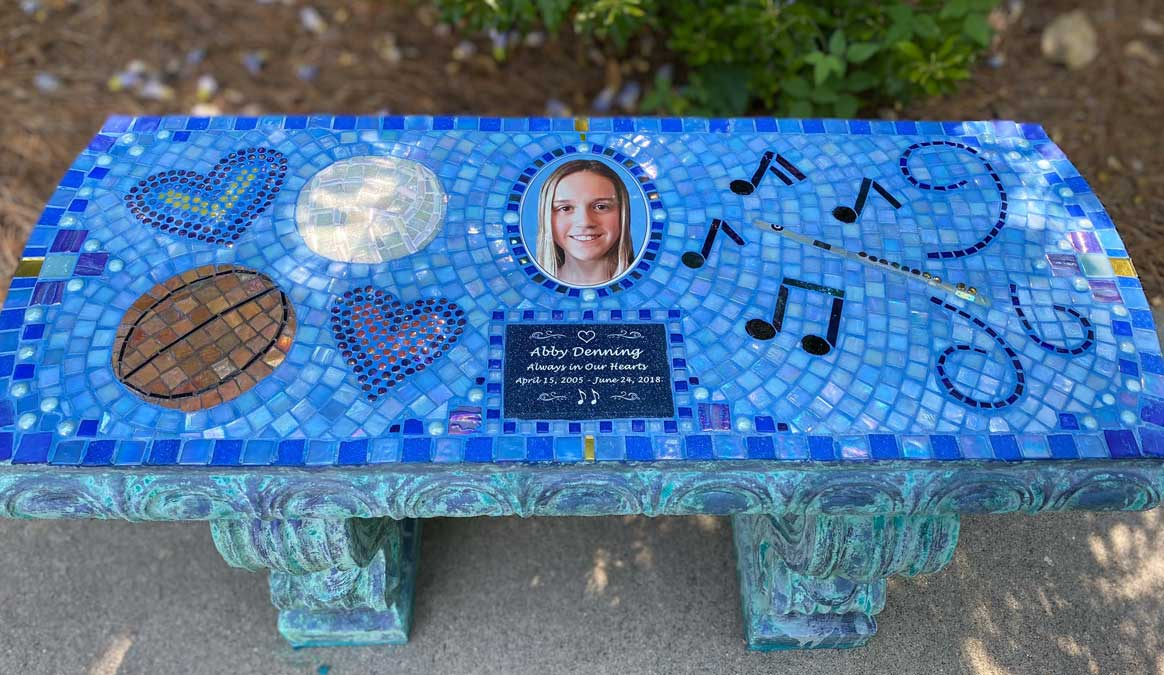 Mosaic Memorial Garden Bench of Abby's Favorite Things by Water's End Studio Artist Linda Solby